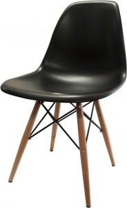Ava Chair Black with Wooden-Legs