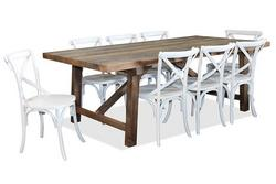 Warehouse dining and crossback chairs
